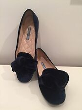 PRADA VELVET BALLET FLAT BOW NAVY BLUE LOGO SHOES 7 37
