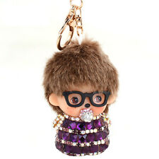Stylish Monchichi Nipple Fur Sunglasses Keychain Keyring Purse Bag Pendant Charm