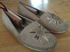 COACH Rorie Sequin Embellished Mocassin Flats Suede Espadrilles Shoes Size 7.5B