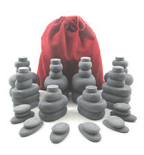 MassageMaster HOT STONE MASSAGE SET: 54 Basalt Stones in Drawstring Bag