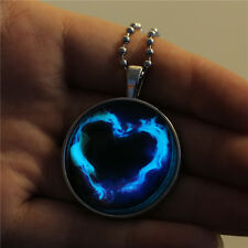 Creative Heart Glow In the Dark Pendant Gold Plated Beads Chain Necklace Jewelry