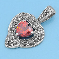 Heart with Marcasite Pendant Sterling Silver 925 Vintage Style Jewelry Garnet CZ