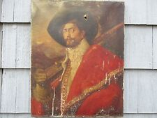 Large Signed Antique Oil on Canvas Portrait of Cavalier Soldier to Restore