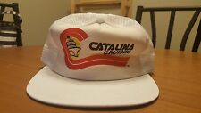 Vintage Catalina Cruises Snapback Hat Cap Mesh Trucker White Vacation Travel