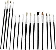 Artist Brushes 15 Paint Brush Set Assorted Sizes Acrylic Oil Brushes Flat Tipped