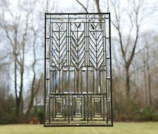 """Stained glass Beveled clear window panel FRANK LLOYD WRIGHT """"TREE OF LIFE"""" 20*34"""