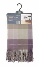 Country Club Acrylic Checked Throw Chateau 130 x190cm Purple Lilac Cover Blanket