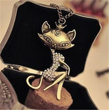 Sexy Cat animal Girl Crystal Rhinestone Long Necklace Retro Women Chain Pendant