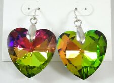 New Iridescent 3d Puffed Heart Shaped Acrylic Earrings NWT #E1219