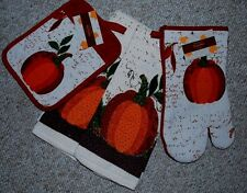 SET 4 PUMPKIN/FALL/THANKSGIVING KITCHEN DISH TOWELS/MITT/POTHOLDER/COTTON/ NWT