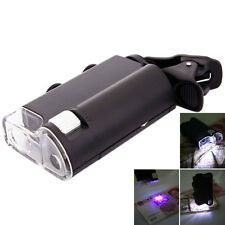 60X-100X Mini Zoom Magnifier Microscope Clip Jewelry w/ UV Counterfeit Detector