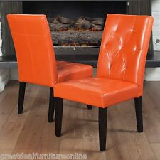 Set of 2 Contemporary Orange Leather Dining Chair w/ Tufted Accent