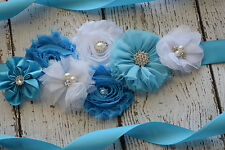 Flower Sash,turquoise, white Sash , flower Belt, maternity sash