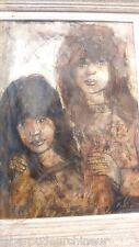 Portrait au fusain et à lhuile signée Nolé. Oil portrait signed Nolé