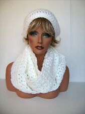 NEW PURE WHITE CROCHET HAT AND INFINITY SCARF SET BEANIE BERET TAM SKI CAP CLOCH