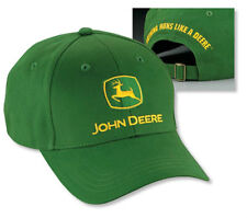 NEW John Deere Green Twill Cap Green JD Logo Hat LP14418