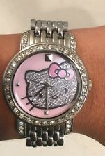 Sanrio 2008 Hello Kitty Silver Japan Movement Rhinestone Pink Face Watch
