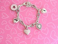 Brighton Bracelet Cupids Kiss Crystals Enamel Charms Hearts PO Rt 76.00