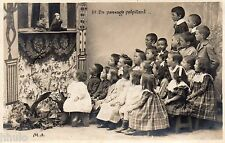 BL163 Carte Photo vintage card RPPC Enfant fantaisie spectacle marionnette