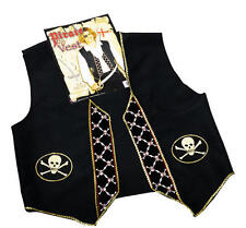 Black Pirate Waistcoat With Skull And Crossbone Design Halloween Fancy Dress