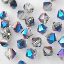 50pcs 6mm Bicone Faceted Crystal Glass Charms Loose Spacer Bead Half Blue Plated