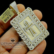MENS REAL GENUINE DIAMOND MIAMI CUBAN ANKH CROSS PENDANT 10K YELLOW GOLD FINISH