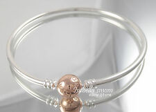 "Genuine PANDORA Silver BANGLE Bracelet ROSE GOLD Plated Clasp Sz 6.7"" (17cm) NEW"