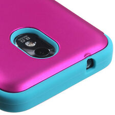 Samsung Galaxy S2 4G Sprint Boost D710 Armor Hybrid Case Cover Hot Pink Teal