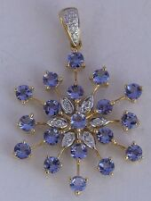 Snow flake pendant 14k yellow gold Amethyst & diamonds unique unusual vintage