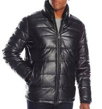 Tommy Hilfiger Men's Faux Leather Quilted Puffer Jacket - Black - M