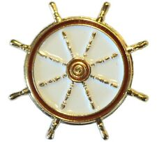 Ships Steering Wheel Helm Metal Enamel Boat Badge Yacht Lapel Pin or Brooch 20mm