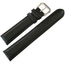 19mm deBeer Mens Black Lizard-Grain Leather Watch Band Strap