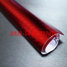 "12""x60"" 3D Carbon Fiber Chrome Red Vinyl Wrap Sticker Decal Sheet Bubble Free"