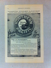 1904 North Coast Limited Northern Pacific Yellowstone Park Like Train Advert.