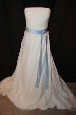 NWT Size 18 Light ivory/Sky blue long chiffon bridal gown, wedding dress/bolero