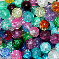 10MM CRACKLE GLASS BEAD MIX 50 BEADS 20 COLOR PACKAGE