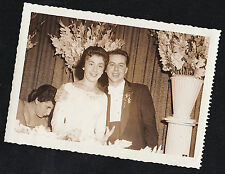 Antique Photograph Wedding Bride and Groom At Table By Beautiful Flowers 1957