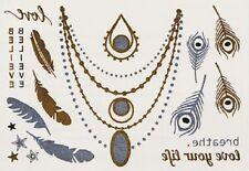 Glam Ink - Sensational Gold & Silver Metallic Temporary Tattoos (Wishing 12)