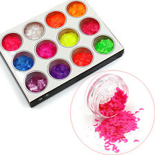 12 Candy Colors 3D Moon Crescent Style Nail Art Glitter Sequins Tips Decoration
