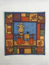 """Quilted Fabric Panel THANKSGIVING HARVEST 14"""" x 13"""" Leaves Pumpkins For Sale"""