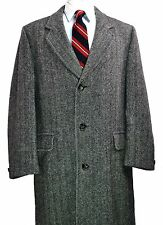 Etienne Caron Herringbone Tweed Overcoat 40R Med Grey Wool Full Length Coat vtg