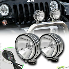 "4X4 Off Road 6"" Round Chrome Fog Lights Bull Guard Bar Roof Bumper For Jeep V6"