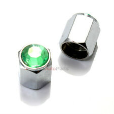 2 Bling Crystal Green Diamond Tire/Wheel Stem Valve Caps for Motorcycle-Scooter