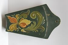 "Old Handpainted Rosemalled Kitchen Wall Knife Holder/Rack 9""x6"" Green"