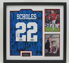 Paul Scholes FRAMED Signed Manchester United F.C. Retro Jersey AFTAL (B)