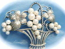 Antique Estate Jewelry saltwater pearl basket pin brooch sterling silver