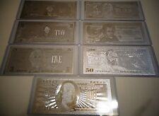 Lot Of 7 _ Silver Bills $1-2-5-10-20-50-100 Dollar Set &Each In Hard Bill Holder