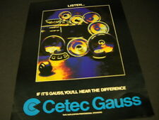CETEC GAUSS tape duplication YOU'LL HEAR THE DIFFERENCE 1979 Promo Poster Ad