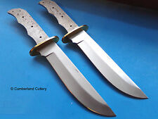 "Lot of 2 Large 12"" Bowie Knife Making  Blade Blanks with Brass Guard"