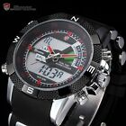 SHARK Dual Time LCD Digital Steel Analog Black Rubber Red Dial Men's Sport Watch